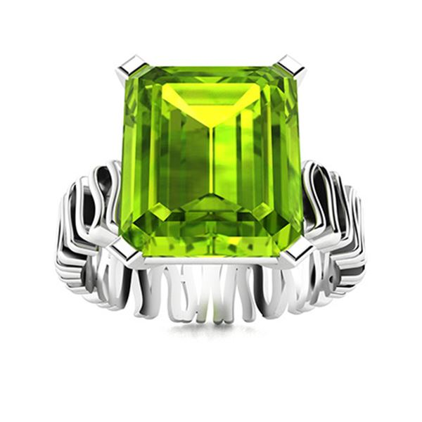 Natural 5.51 CTW Peridot Solitaire Ring 14K White Gold