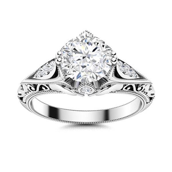 Natural 0.93 CTW Diamond Solitaire Ring 14K White Gold