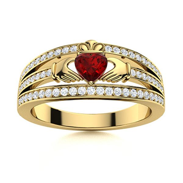 Natural 0.67 CTW Garnet & Diamond Engagement Ring 18K Yellow Gold