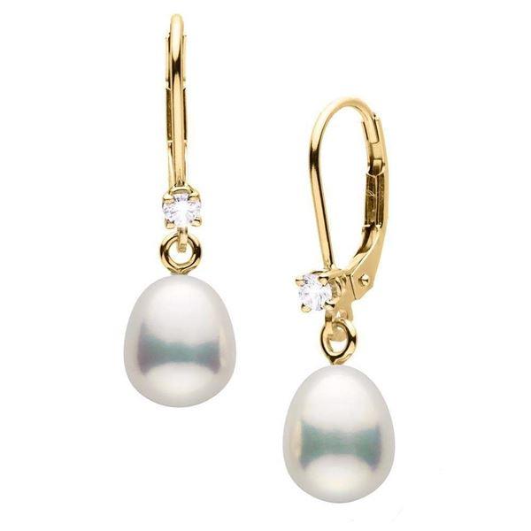 Metallic White Drop-Shaped Freshwater Pearl and Diamond Leverback Dangle Earrings