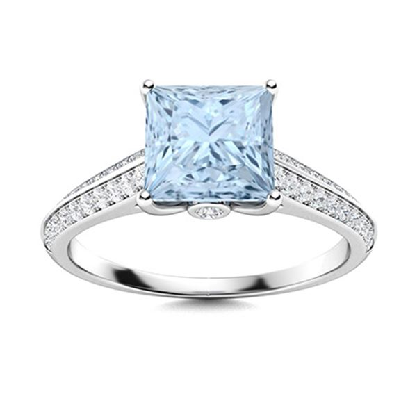 Natural 1.13 CTW Aquamarine & Diamond Engagement Ring 14K White Gold
