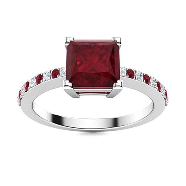 Natural 1.18 CTW Ruby & Diamond  Engagement Ring 18K White Gold