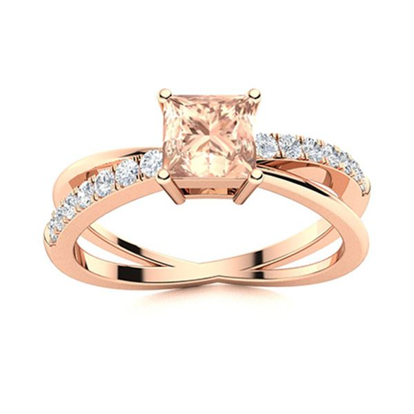 Natural 1.07 CTW Morganite & Diamond Engagement Ring 18K Rose Gold