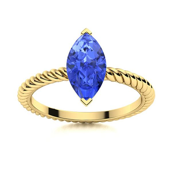 Natural 1.02 CTW Ceylon Sapphire Solitaire Ring 14K Yellow Gold