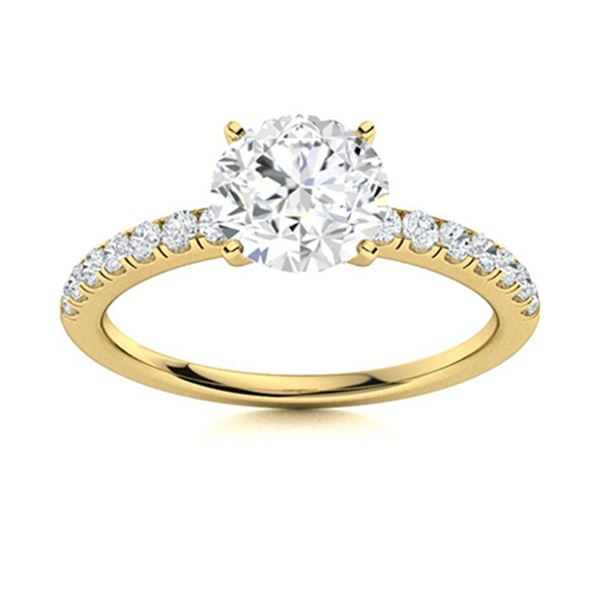 Natural 1.77 CTW Diamond Solitaire Ring 18K Yellow Gold