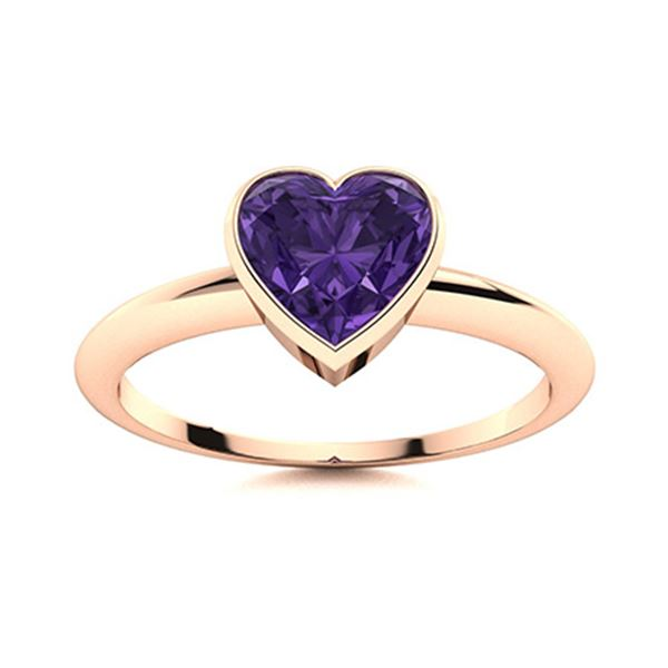 Natural 0.41 CTW Amethyst Solitaire Ring 14K Rose Gold