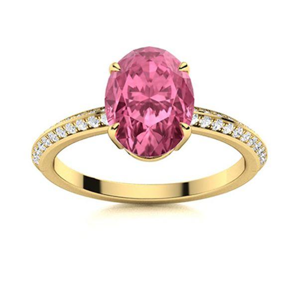 Natural 3.50 CTW Tourmaline & Diamond Engagement Ring 14K Yellow Gold