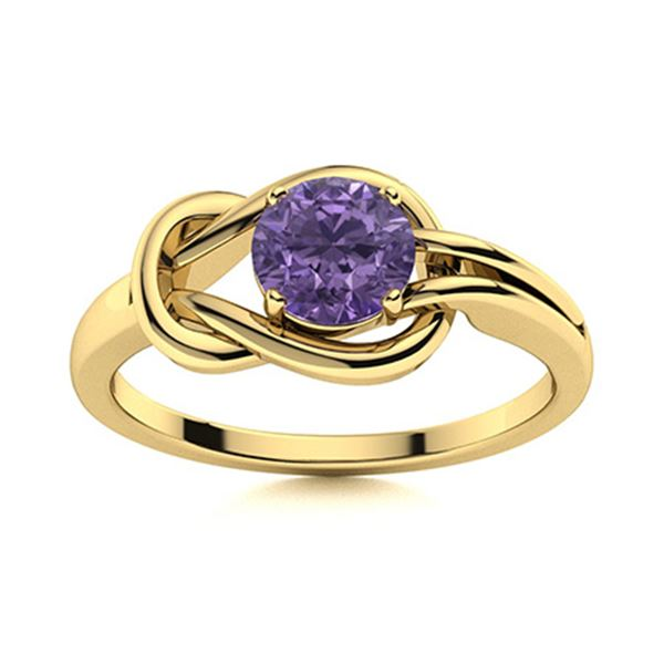 Natural 0.42 CTW Iolite Solitaire Ring 18K Yellow Gold
