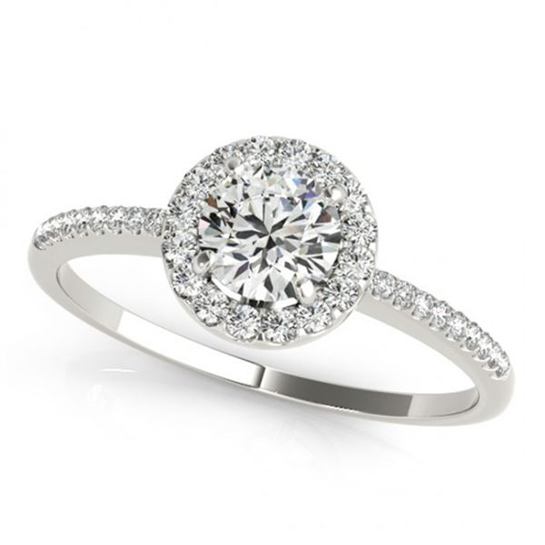 Natural 1.2 ctw Diamond Solitaire Halo Ring 14k White Gold