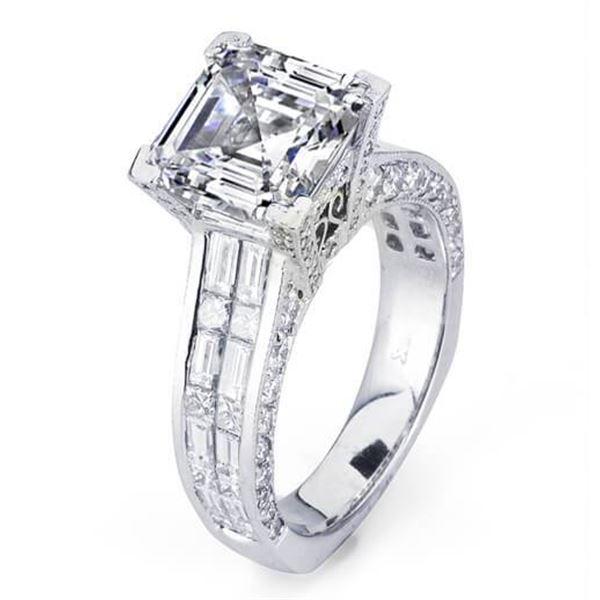 Natural 5.53 CTW Asscher Cut Diamond Engagement Ring 18KT White Gold