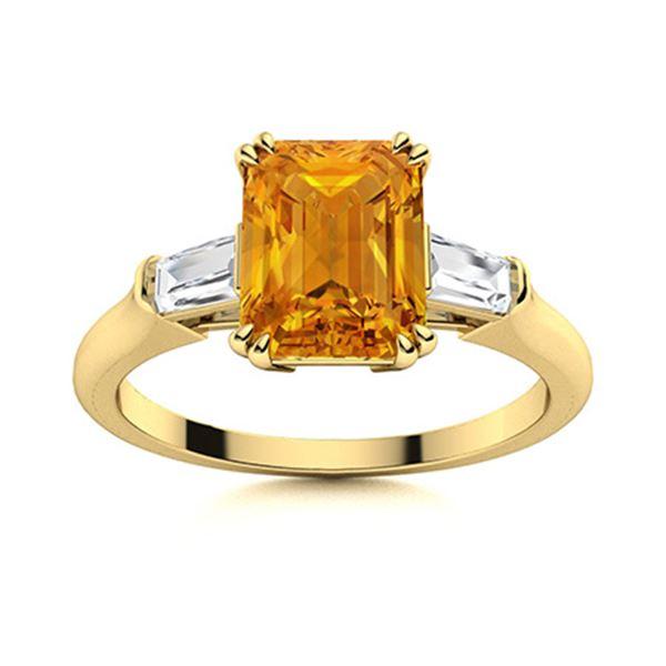 Natural 2.79 CTW Citrine & Diamond Engagement Ring 18K Yellow Gold