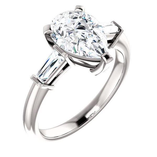 Natural 2.02 CTW Pear Cut & Baguette Cut 3-Stone Diamond Ring 14KT White Gold