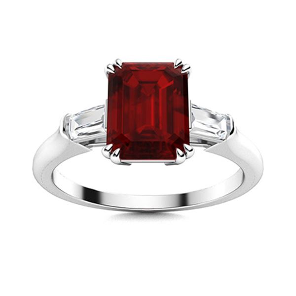 Natural 2.43 CTW Garnet & Diamond Engagement Ring 14K White Gold
