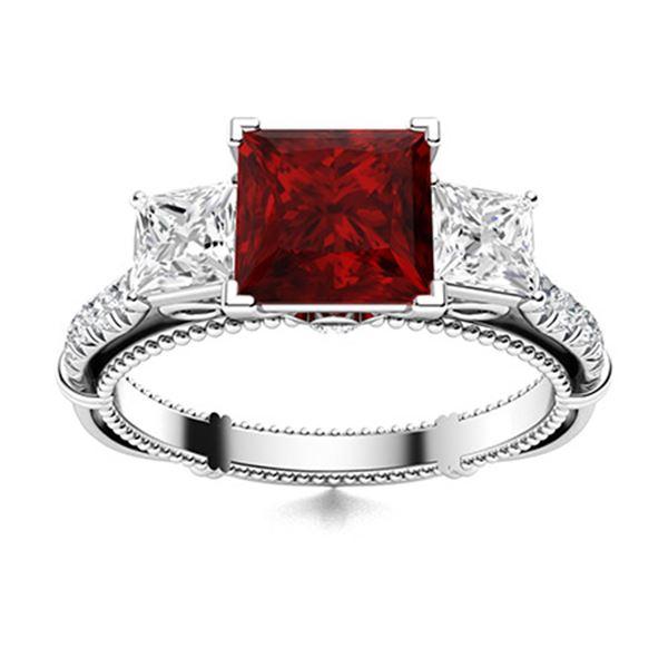 Natural 1.72 CTW Garnet & Diamond  Engagement Ring 18K White Gold