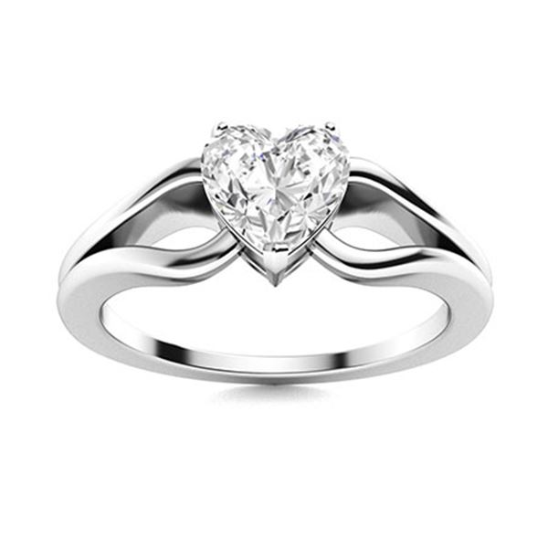 Natural 0.76 CTW Diamond Solitaire Ring 14K White Gold