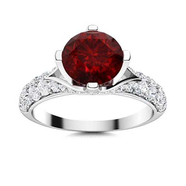 Natural 2.24 CTW Garnet & Diamond Engagement Ring 18K White Gold