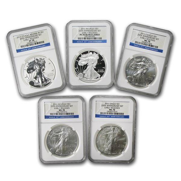 2011 5-Coin Silver Eagle Set MS/PF-70 NGC (ER, 25th Anniv)