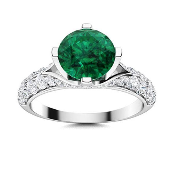 Natural 1.59 CTW Emerald & Diamond Engagement Ring 18K White Gold