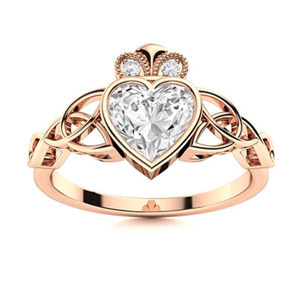Natural 1.54 CTW Diamond Solitaire Ring 18K Rose Gold