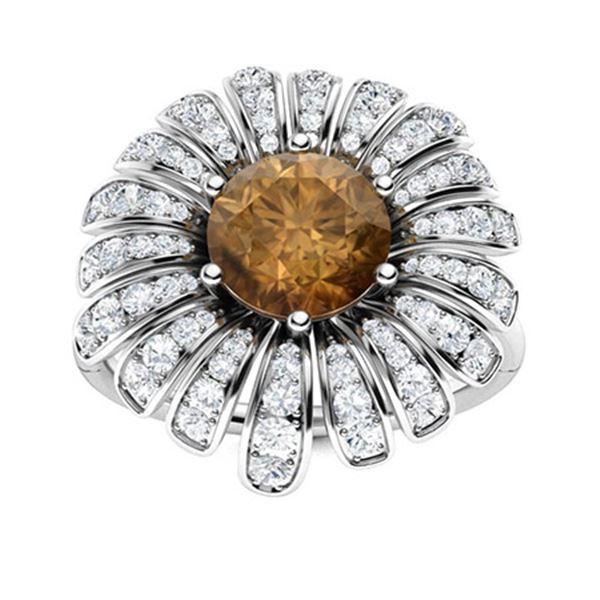Natural 1.66 CTW Brown & White Diamond Engagement Ring 14K White Gold