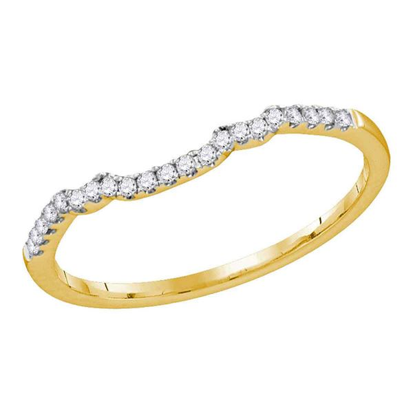 14kt Yellow Gold Womens Round Diamond Contoured Slender Wedding Band 1/10 Cttw