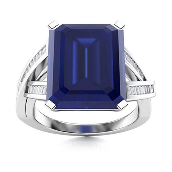 Natural 5.97 CTW Sapphire & Diamond Engagement Ring 18K White Gold
