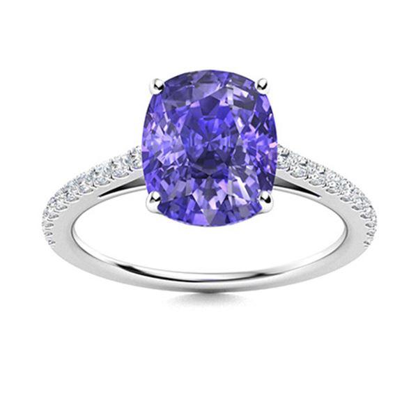 Natural 4.19 CTW Tanzanite & Diamond Engagement Ring 18K White Gold