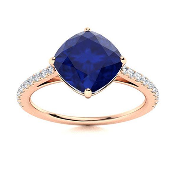Natural 3.17 CTW Sapphire & Diamond Engagement Ring 18K Rose Gold