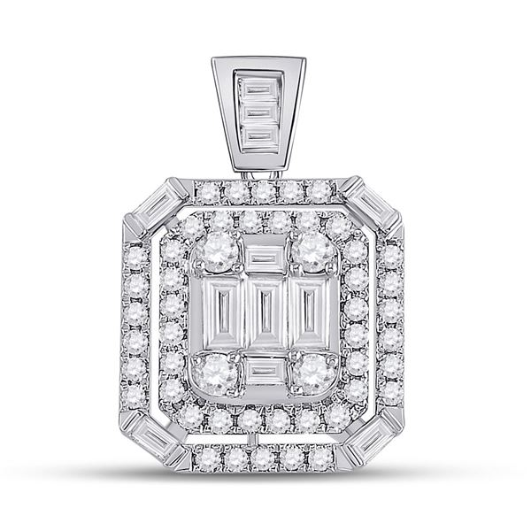 14kt White Gold Womens Round Diamond Square Cluster Pendant 7/8 Cttw