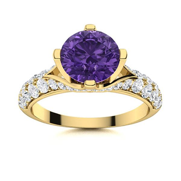 Natural 2.54 CTW Amethyst & Diamond Engagement Ring 18K Yellow Gold