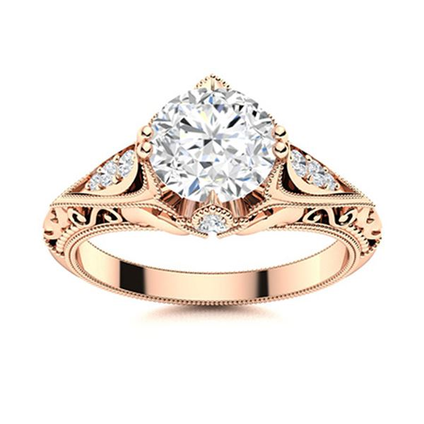 Natural 1.39 CTW Diamond Solitaire Ring 18K Rose Gold