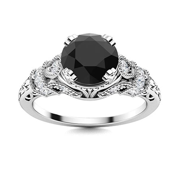 Natural 1.61 CTW Black & White Diamond Engagement Ring 18K White Gold