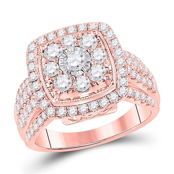 14kt Rose Gold Round Diamond Cluster Bridal Wedding Engagement Ring 1-1/2 Cttw