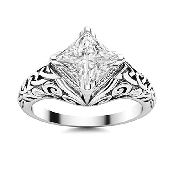 Natural 1.01 CTW Diamond Solitaire Ring 18K White Gold