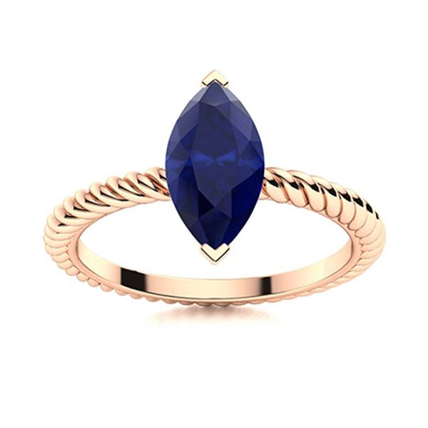Natural 1.96 CTW Sapphire Solitaire Ring 18K Rose Gold