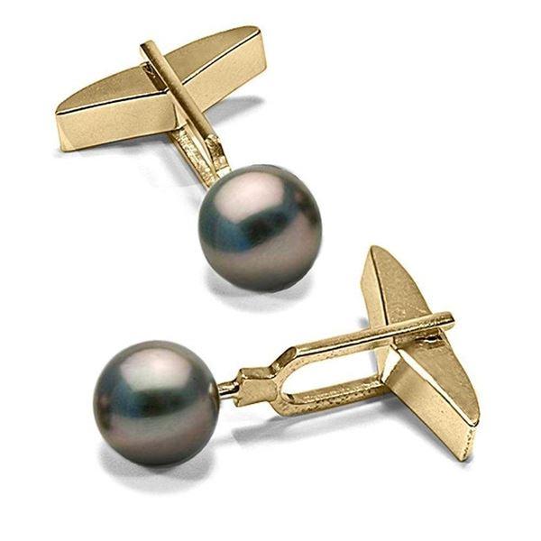 Black Tahitian Pearl Cufflinks, 10.0-11.0mm
