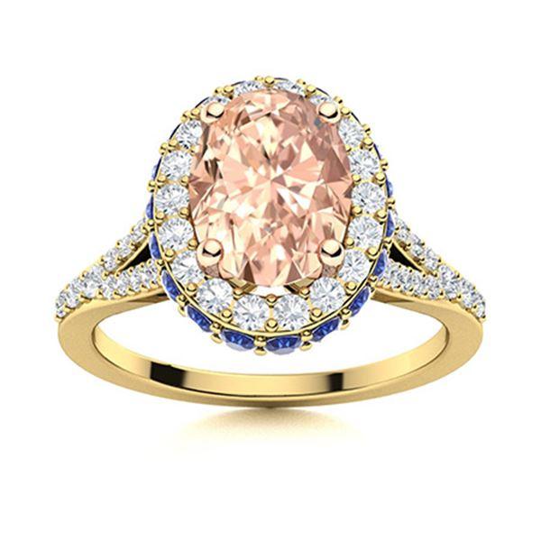 Natural 1.82 CTW Morganite, Sapphire & Diamond Engagement Ring 18K Yellow Gold