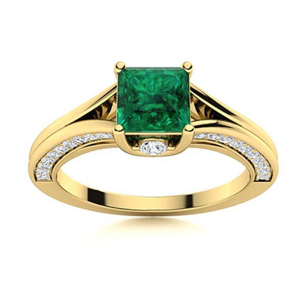 Natural 1.47 CTW Emerald & Diamond Engagement Ring 14K Yellow Gold