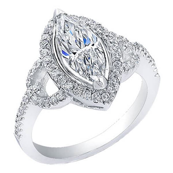 Natural 2.22 CTW Halo Marquise Cut Diamond Engagement Ring 14KT White Gold
