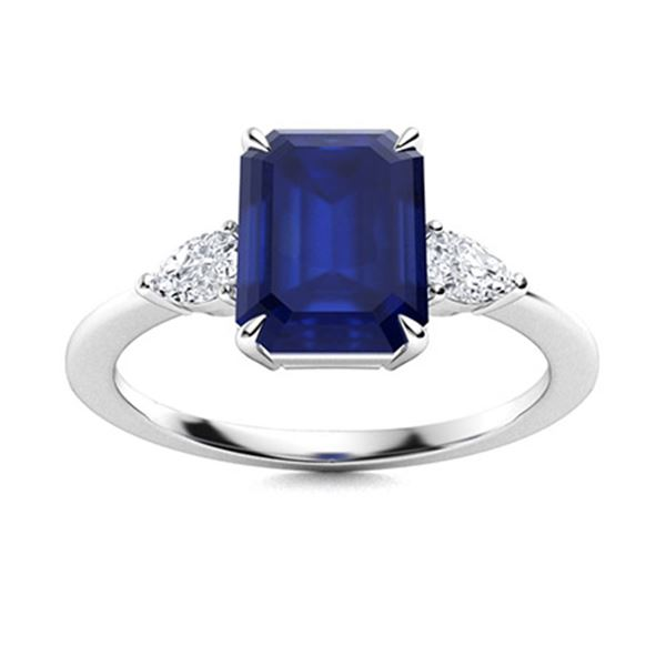 Natural 2.58 CTW Sapphire & Diamond Engagement Ring 18K White Gold