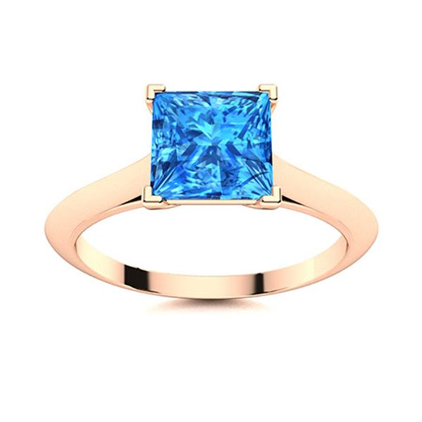 Natural 0.89 CTW Topaz Solitaire Ring 14K Rose Gold