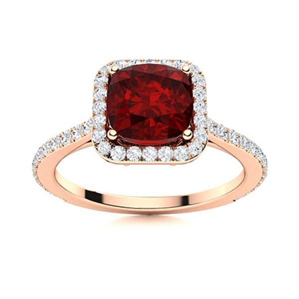 Natural 1.17 CTW Garnet & Diamond Engagement Ring 18K Rose Gold