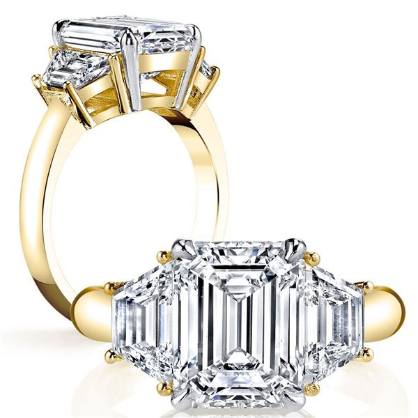 Natural 2.62 CTW 3-Stone Emerald Cut & Trapezoids Diamond Ring 14KT Yellow Gold