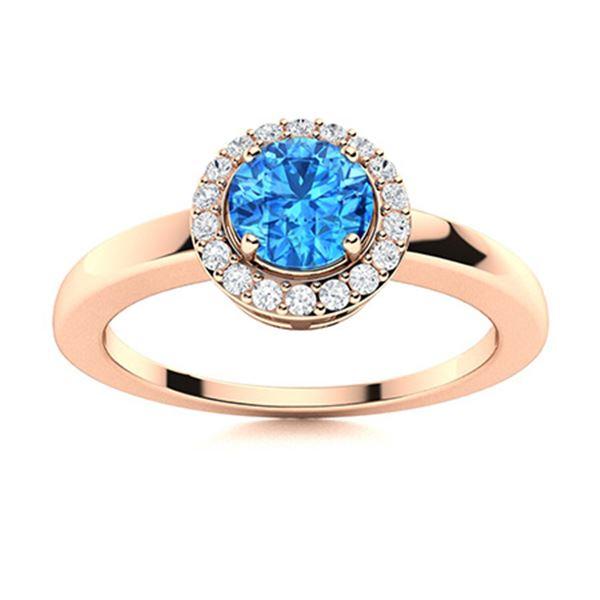 Natural 0.53 CTW Topaz & Diamond Engagement Ring 18K Rose Gold