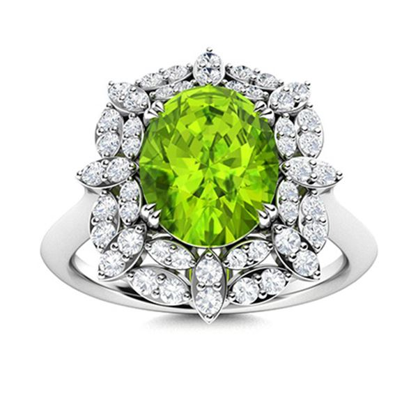 Natural 2.18 CTW Peridot & Diamond Engagement Ring 18K White Gold