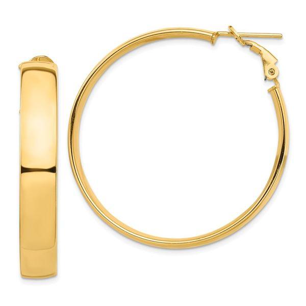 14k Yellow Gold Omega Back Hoop Earrings - 7x42 mm