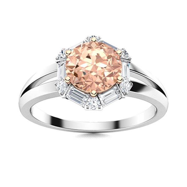 Natural 1.36 CTW Morganite & Diamond Engagement Ring 18K White Gold