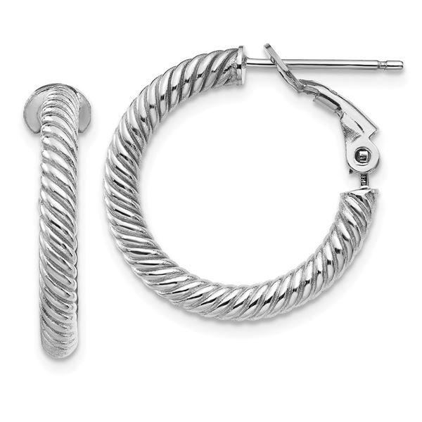 10k White Gold Twisted Round Omega Back Hoop Earrings - 15 mm