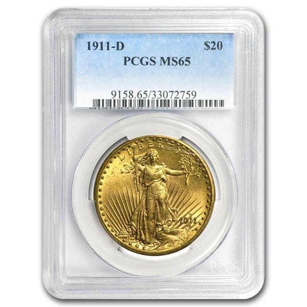 1911-D $20 Saint-Gaudens Gold Double Eagle MS-65 PCGS