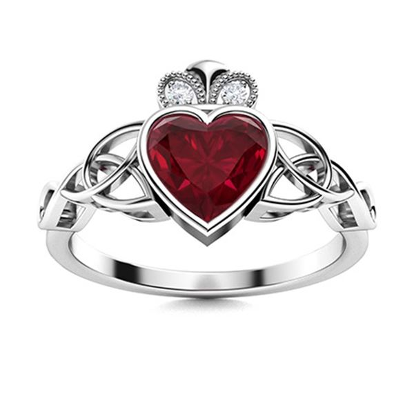 Natural 0.61 CTW Ruby & Diamond Engagement Ring 18K White Gold